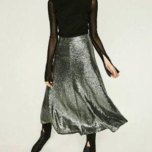 Zara Woman Sequin Midi Skirt